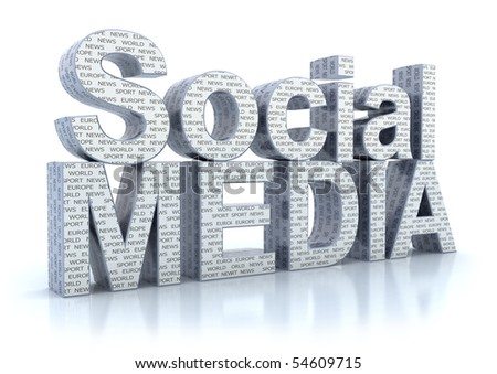 Social Media word isolated on white - stock photo