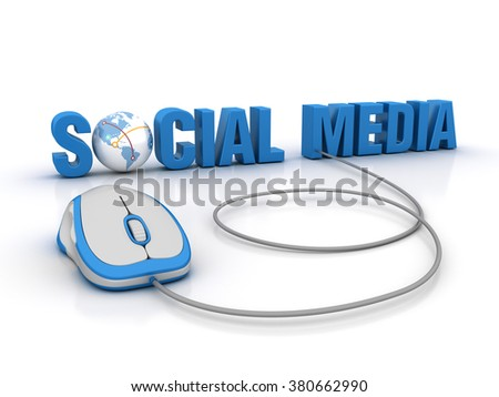SOCIAL MEDIA Word with Globe Earth and Computer Mouse - High Quality 3D Render  - stock photo