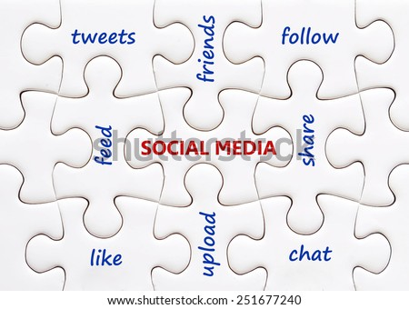 Social media words on white jigsaw puzzle background - stock photo