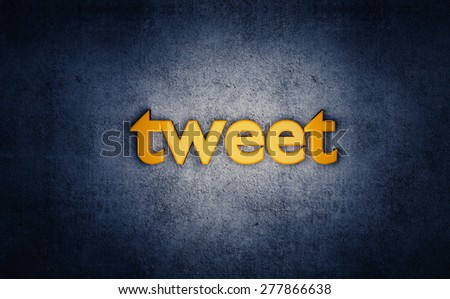 Social media yellow tweet 3D text on grunge blue background. - stock photo