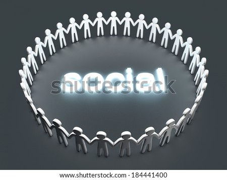Social Network. A group of icon people standing in a circle. 3D rendered Illustration. - stock photo