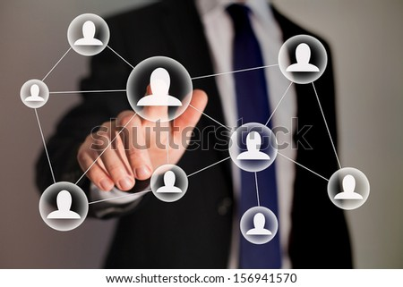 social network and business technologies - stock photo