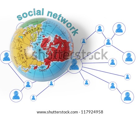 social network and  globe on white background