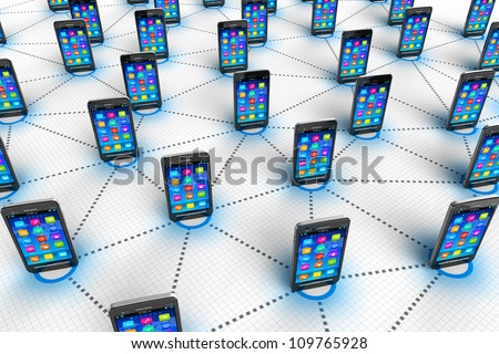 Social network and mobile communication concept: group of black glossy touchscreen smartphones connected into endless network on white background - stock photo