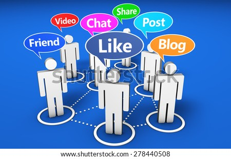 Social network and social media online web community concept with 3d people and Internet words signs on colorful speech clouds.