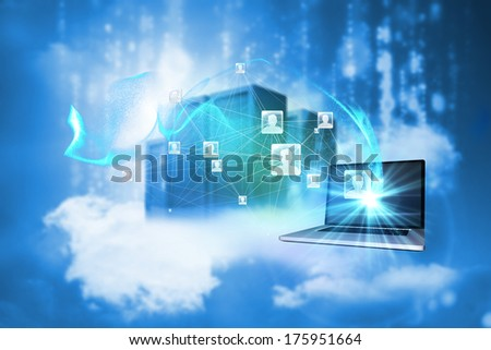 Social network background against cityscape on cloud - stock photo