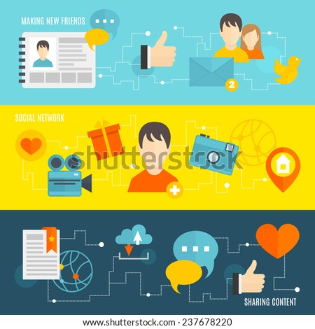 Social network banner set with making new friends sharing content isolated  illustration - stock photo