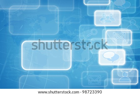 social network blue background. - stock photo
