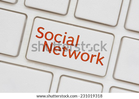 social network  button on Computer Keyboard - stock photo
