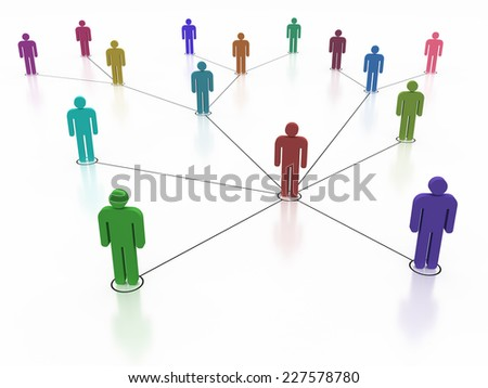 Social network, colorful human symbol