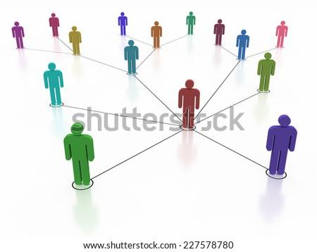 Social network, colorful human symbol - stock photo