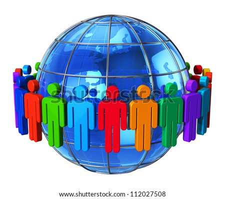 Social network, communication and media concept: group of color human figures around blue glossy Earth globe isolated on white background - stock photo