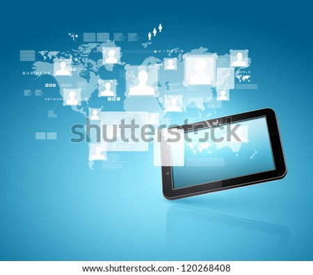 social network, communication in the global computer networks - stock photo
