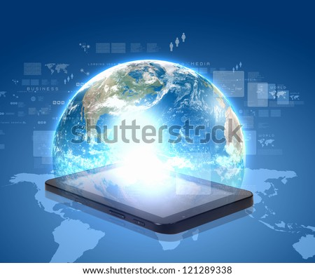 social network, communication in the global computer networks. Elements of this image are furnished by NASA - stock photo