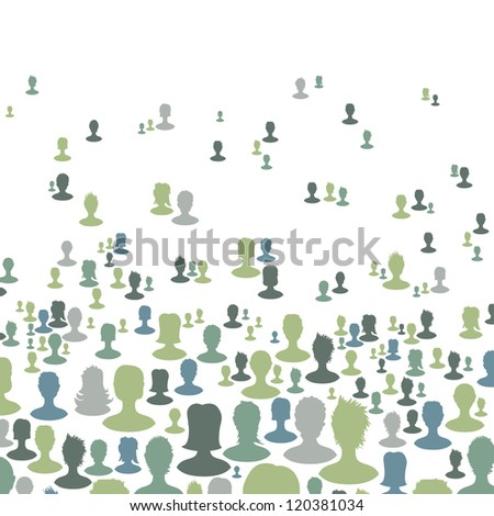 Social network concept background. Many people silhouettes. Raster version, vector file available in portfolio. - stock photo