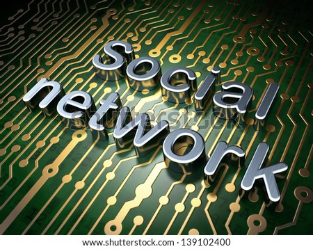 Social network concept: circuit board with word Social Network, 3d render - stock photo