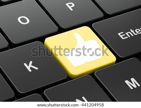 Social network concept: computer keyboard with Thumb Up icon on enter button background, 3D rendering - stock photo