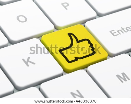 Social network concept: computer keyboard with Thumb Up icon on enter button background, selected focus, 3D rendering - stock photo