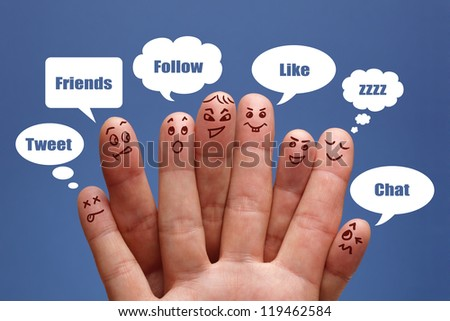Social network concept finger people in discussion with speech bubbles - stock photo