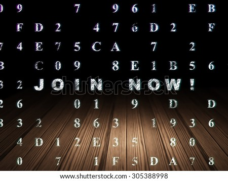Social network concept: Glowing text Join now! in grunge dark room with Wooden Floor, black background with Hexadecimal Code, 3d render