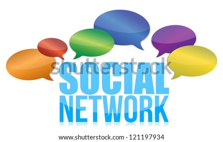 social network concept illustration design over a white background - stock photo