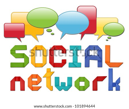 social network concept illustration with origami letters and with speech bubbles - stock photo