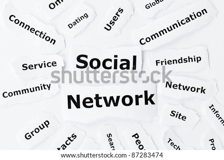 Social network concept in tag made of paper scraps - stock photo