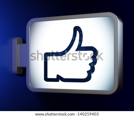 Social network concept: Like on advertising billboard background, 3d render