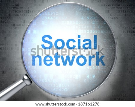 Social network concept: magnifying optical glass with words Social Network on digital background, 3d render - stock photo