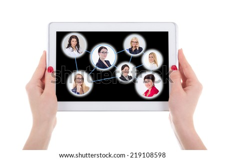 social network concept - modern tablet pc with people portraits isolated on white background