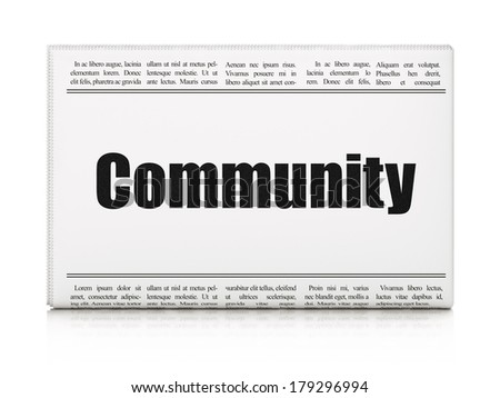 Social network concept: newspaper headline Community on White background, 3d render - stock photo