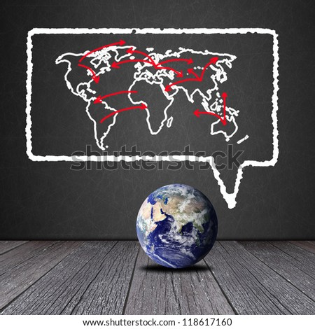 Social network concept on Blackboard with the Earth : Elements of this image furnished by NASA - stock photo