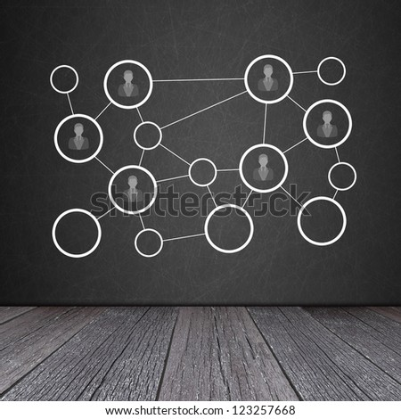 Social network concept on the Blackboard with ground of the wood - stock photo