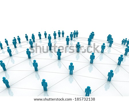 Social Network concept over white background - stock photo