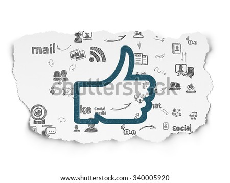 Social network concept: Painted blue Thumb Up icon on Torn Paper background with Scheme Of Hand Drawn Social Network Icons - stock photo