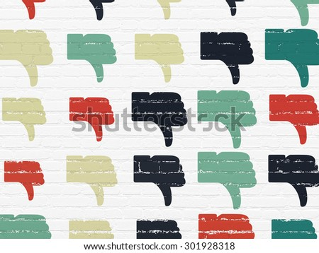 Social network concept: Painted multicolor Thumb Down icons on White Brick wall background, 3d render - stock photo