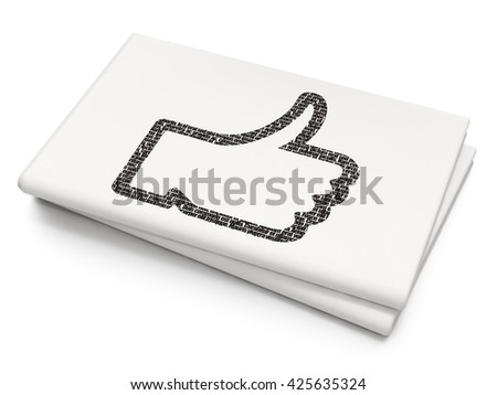Social network concept: Pixelated black Thumb Up icon on Blank Newspaper background, 3D rendering - stock photo
