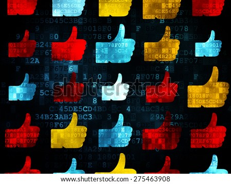 Social network concept: Pixelated multicolor Thumb Up icons on Digital background, 3d render - stock photo