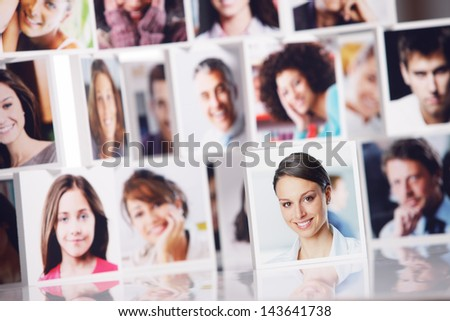 Social network concept. Portraits of a group of people smiling