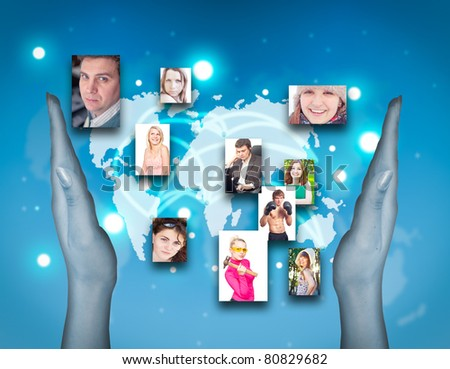 Social network concept. Real photos on the background virtual interface - stock photo