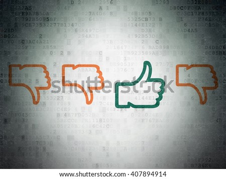 Social network concept: row of Painted orange thumb down icons around green thumb up icon on Digital Paper background - stock photo