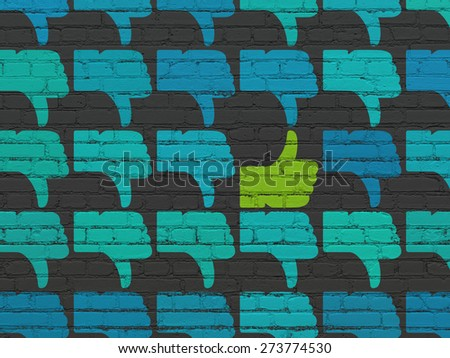 Social network concept: rows of Painted blue thumb down icons around green thumb up icon on Black Brick wall background, 3d render - stock photo