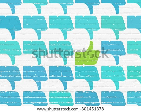 Social network concept: rows of Painted blue thumb down icons around green thumb up icon on White Brick wall background, 3d render - stock photo