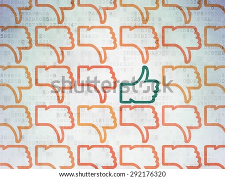 Social network concept: rows of Painted orange thumb down icons around green thumb up icon on Digital Paper background, 3d render - stock photo