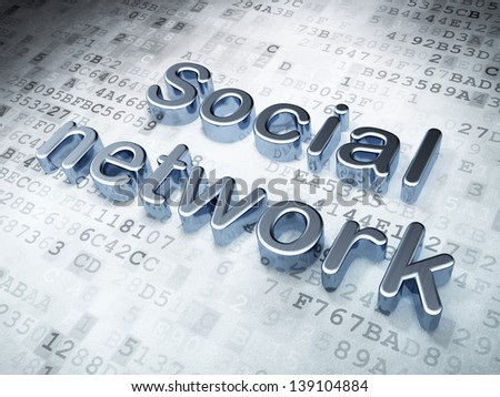 Social network concept: Silver Social Network on digital background, 3d render - stock photo
