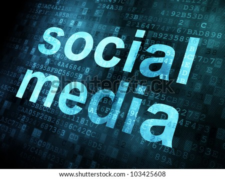 Social network concept: Social media on digital screen, 3d render - stock photo