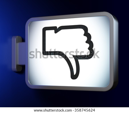 Social network concept: Thumb Down on billboard background - stock photo