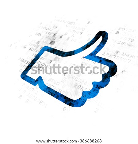 Social network concept: Thumb Up on Digital background - stock photo