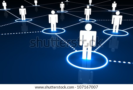 Social Network concept with connection of 3d people by dotted neon lines on dark blue background.