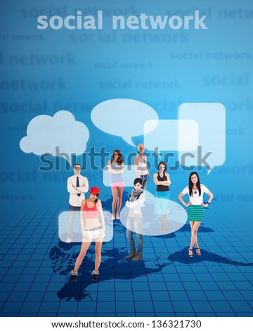 Social network concept with young people - stock photo